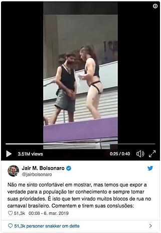 TVITRET: Brasils president la ut denne videoen på Twitter av en mann som tisser på en annen under karnevalet São Paulo. Foto: Skjermdump.
