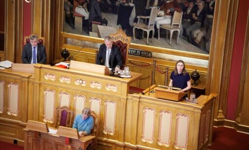 DEBUT: Hulda Holtvedt brøt parlamentariske regler og praksis da hun lekset opp for Stortinget i dag. Foto: MDG