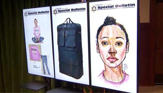 <strong>KOFFERT:</strong> Jenta ble funnet sent tirsdag kveld i en koffert i nærheten av en populær tursti. Foto: Los Angeles Sheriff's Department.