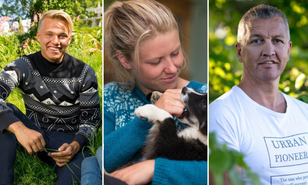 SPONSET: Blant andre Erik Anders Sæter, Tiril Sjåstad Christiansen og Ole Klemetsen hadde på seg sponsede klær under «Farmen kjendis»-oppholdet. Foto: Alex Iversen / TV 2