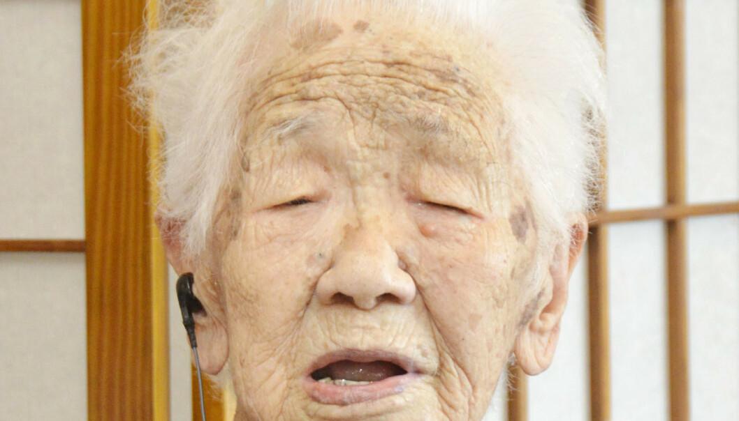 Japanske Kana Tanaka er verdens eldste person. FOTO: Kyodo News via AP