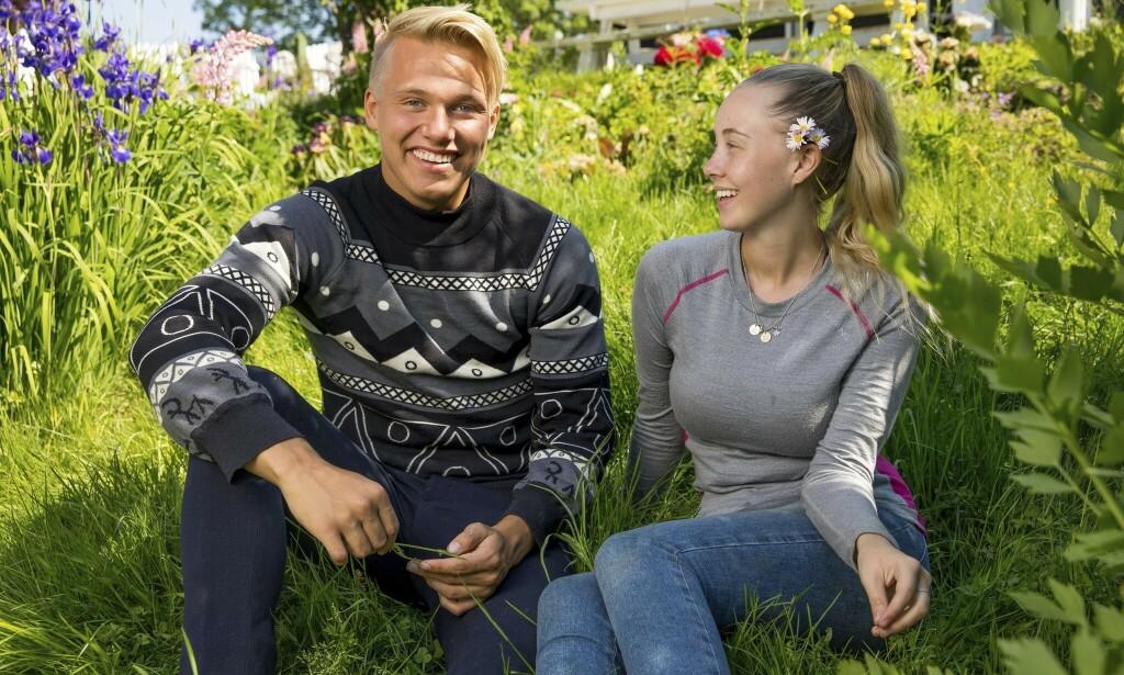 NÆRE VENNER: De tidligere «Paradise Hotel»-deltakerne Erik Sæter og Martine Lunde fant raskt tonen på «Farmen kjendis». Ryktene ville ha det til at de hadde en affære, noe de begge benekter på det sterkeste. Foto: TV 2