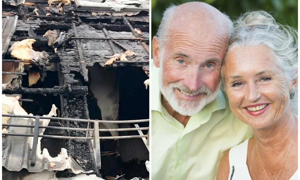 BRANNDRAMA: «Sofa»-paret Jan Ridd og Silvia Leine kan ikke bo i leiligheten. Foto: Privat, Tor Lindseth / Se og Hør