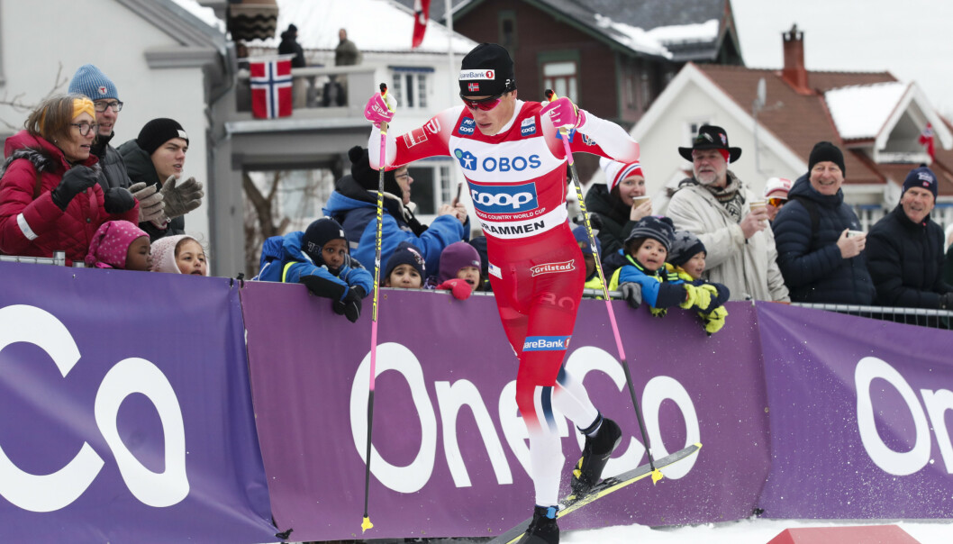 <strong>DRAMMEN:</strong> Klæbos tid var 3,54 sekunder raskere enn nestemann på lista. Foto: Terje Bendiksby / NTB scanpix.