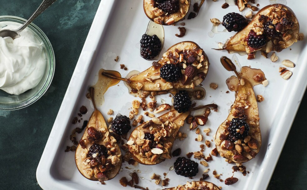 BAKTE PÆRER: En varm og god dessert du kan nyte til kaffen. FOTO: Stine Christiansen