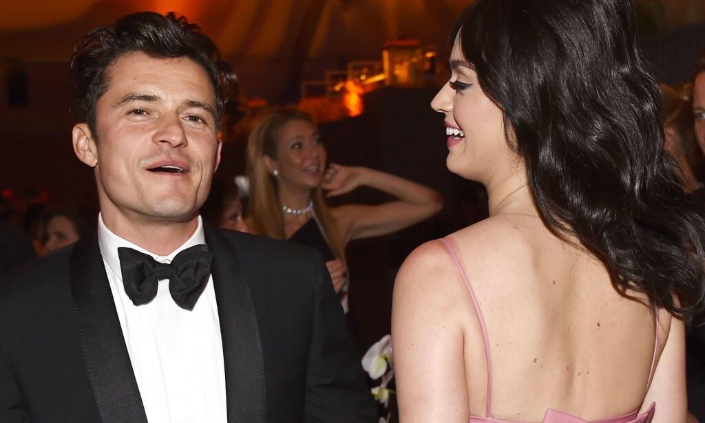 ÅPNER OPP OM FØRSTE MØTE: Sangstjernen Katy Perry og Orlando Bloom forlovet seg nylig, og nå åpner hun opp om deres første møte under Golden Globe-utdelingen i 2016 (bildet). Foto: NTB scanpix