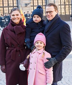 STORSLÅTT FEIRING: Hele kronprinsessefamilien tok del i feiringen tirsdag formiddag. Foto: NTB Scanpix