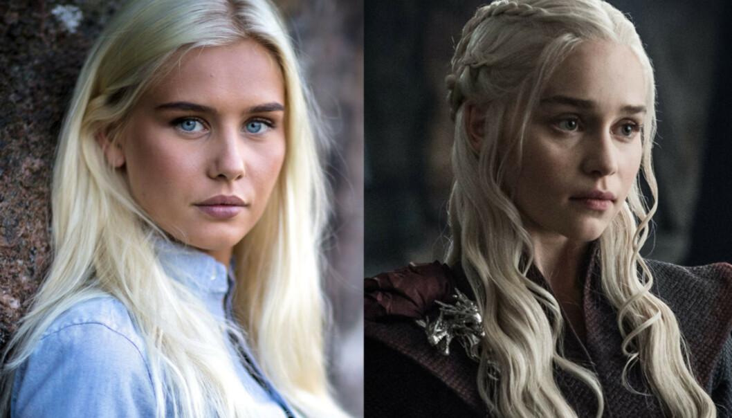 SER DU LIKHETEN? «Farmen»-profilen Amalie Snøløs og Emilia Clarkes «Game of Thrones»-karakter Daenerys Targaryen har flere ganger blitt sammenlignet. Foto: Alex Iversen / TV 2, HBO Nordic
