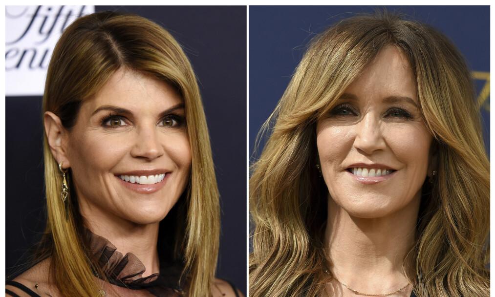 I HARDT VÆR: Skuespillerne Felicity Huffman og Lori Loughlin, kjent fra henholdsvis «Frustrerte fruer» og «Full House», er blant dem som beskyldes for å ha gitt grove bestikkelser. Foto: NTB Scanpix