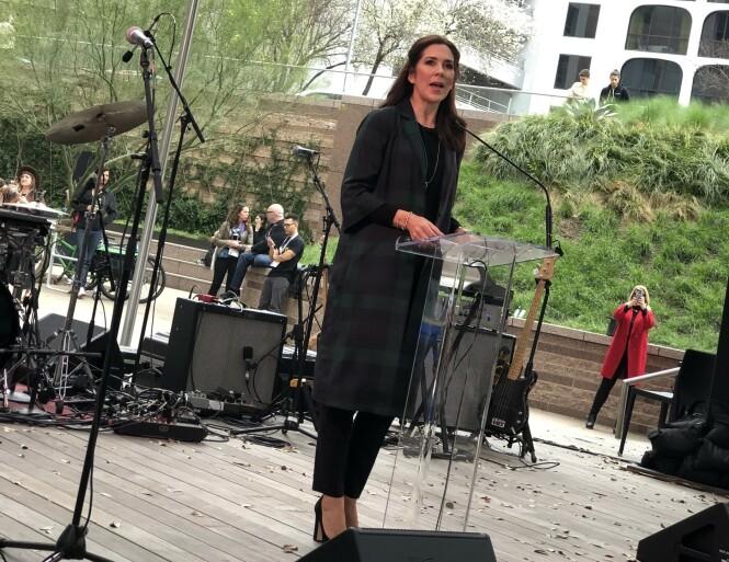 <strong>HYLLET SKANDINAVISK MUSIKK:</strong> Kronprinsesse Mary fortalte fra scenen at hun håper at de skandinaviske artistene som skal opptre på SXSW i Texas kan bidra til økt nordisk musikkeksport. FOTO: Malini Gaare Bjørnstad