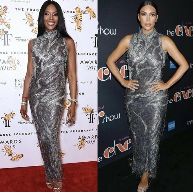 TRE ÅR SKILLER BILDENE: Denne sølvfargede kjolen ble brukt av Naomi i 2015 og av Kim i 2018. FOTO: Instagram
