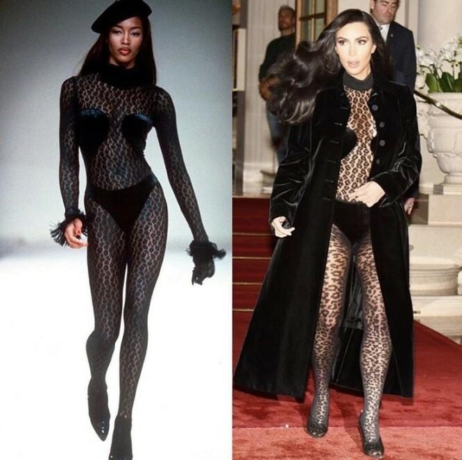 VAR FØRST UTE: Naomi var modell for designer Azzedine Alaïa i 1991, og gikk nedover catwalken i blant annet denne gjennomsiktige kreasjonen. Til høyre er Kim avbildet i mars i år. FOTO: Instagram