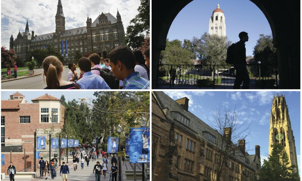 PRESITSJEUNIVERSITETER: Skolene det angivelig dreier seg om er henholdsvis Yale, Stanford, The University of Southern California og Georgetown. Foto: NTB Scanpix