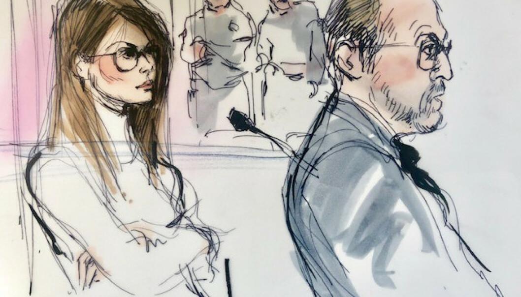 <strong>MØTTE I RETTEN:</strong> Lori Loughlin foreviget av en rettstegner under høringen i Los Angeles onsdag. Foto: Mona Shafer Edwards/Reuters/ NTB scanpix