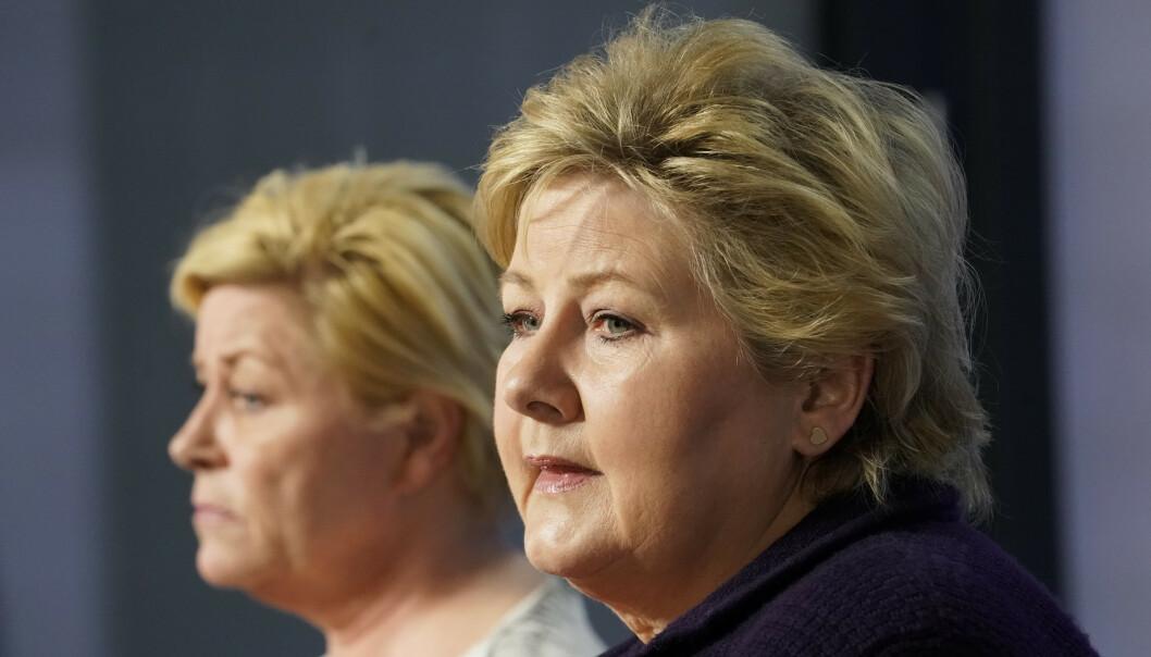 Statsminister Erna Solberg (H) og Frp-leder Siv Jensen møtte pressen om Wara-saken torsdag ettermiddag. Foto: Cornelius Poppe / NTB scanpix
