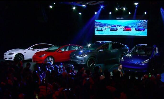 <strong>S3XY:</strong> Her er alle bilene ved siden av hverandre. Fra Venstre staver modellene S 3 X Y. Foto: Skjermdump