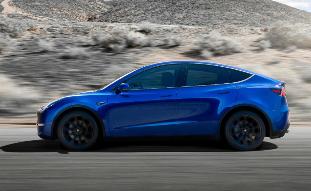 <strong>SPLITTER NY:</strong> Model Y er Teslas nyeste elbil. En mediumstørrelse SUV, beskrev Tesla-sjef Elon Musk den som under lanseringen. Foto: Tesla