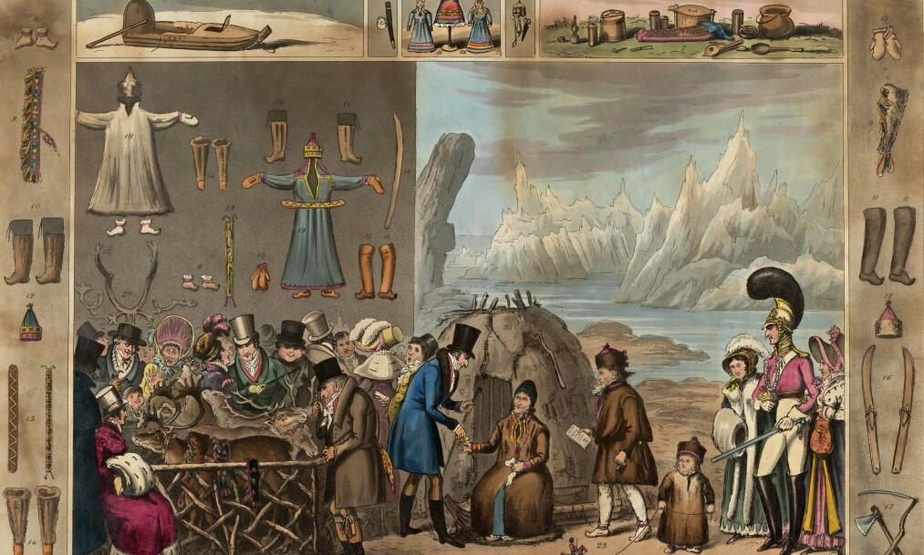 <strong>PÅ UTSTILLING:</strong> på 1800-tallet vakte samene og den samiske kulturen stor oppsikt i Europa. British Museum og andre store museumsinstitusjoner hadde egne utstillinger om samisk kultur, ofte med ekte samer for anledningen. Bilde fra boka.