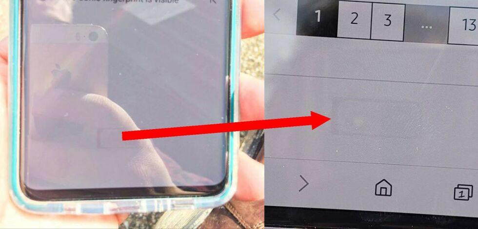 image: Flere S10-eiere klager over at fingersensoren er synlig i skjermen