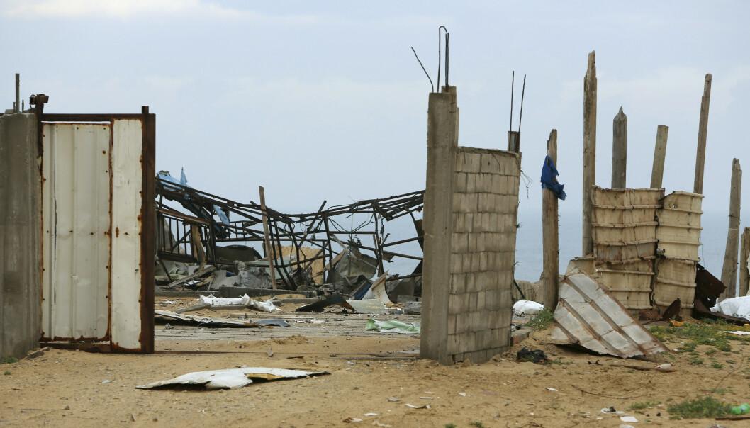 Restene av det som skal være et militært Hamas-anlegg i Gaza by etter luftangrepene. Foto: AP / NTB scanpix