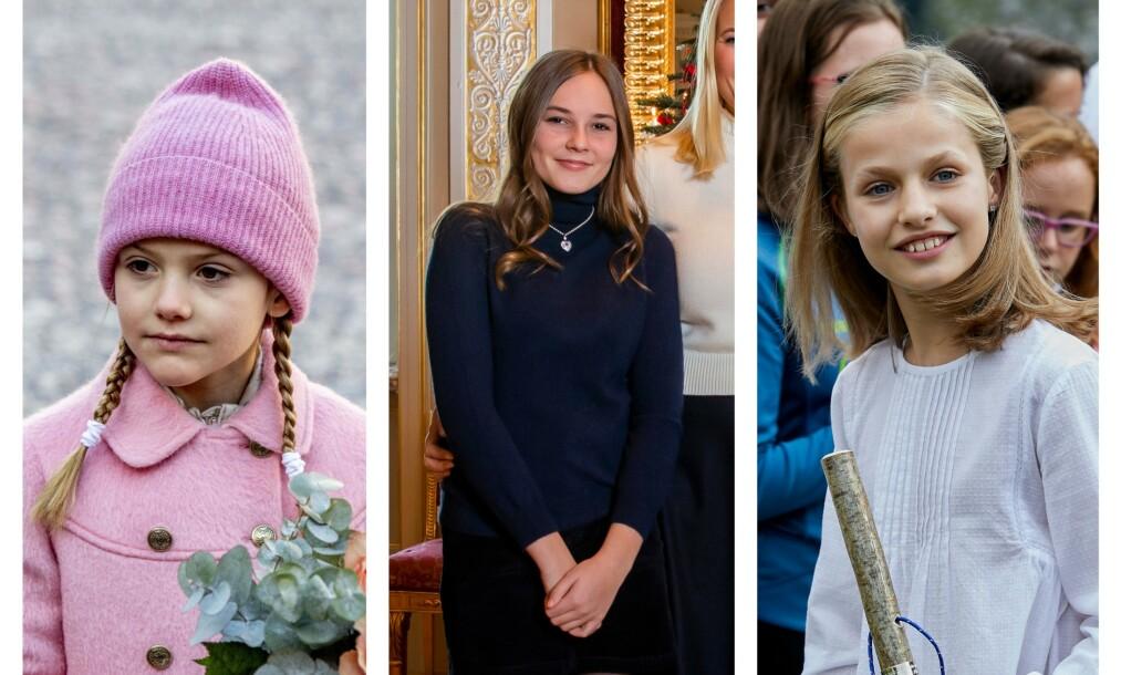 KVINNELIGE MONARKER: En rekke tronarvinger står klare til å ta over kongedømmene i Europa fremover. Fra venstre: Sveriges prinsesse Estelle (7), Norges prinsesse Ingrid Alexandra (15) og Spanias kronprinsesse Leonor (13). Foto: NTB Scanpix