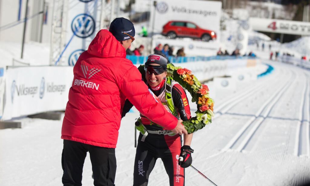 SEIRET: Justyna Kowalczyk vant lørdag Birkebeinerrennet for tredje gang på rad. Bildet er fra i fjor. I herreklassen vant Petter Eliassen foran fjorårsvinner Andreas Nygaard. Foto: Vebjørn Rakvaag / Birken / NTB Scanpix