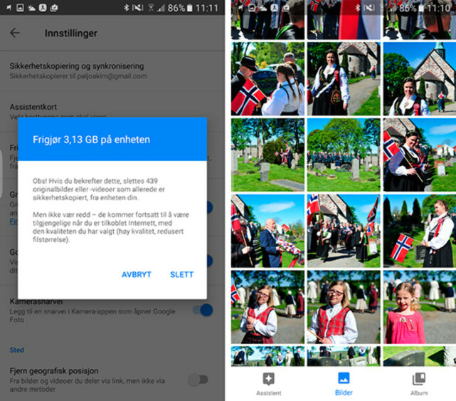 PÅ NETT: Selv om vi sletter alle bildene på telefonen og frigjør drøye 3 GB, kan de fint sees på siden vi har en sikkerhetskopi hos Google. Foto: PÅL JOAKIM POLLEN