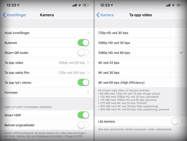 1/6: Velger du å filme i 720p-oppløsning fremfor 4K, vil videoene ta opp 1/6 av plassen på iPhone. Foto: KIRSTI ØSTVANG