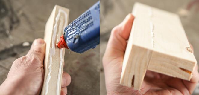 <strong>Tvinge:</strong> Hvis du mangler tvinger eller det er biter som er vanskelige å presse sammen er smeltelim tingen. Foto: Øivind Lie-Jacobsen