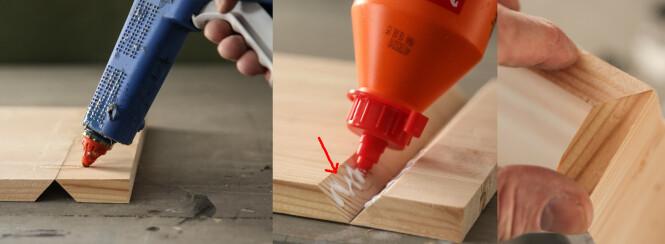 1.Lag noen striper med smeltelim på baksiden. 2. Snu emnet og legg på trelim i skjøten. Legg også noen punkter med smeltelim mot kanten (pil). 3. Så er det bare å brette sammen. Foto: Øivind Lie-Jacobsen