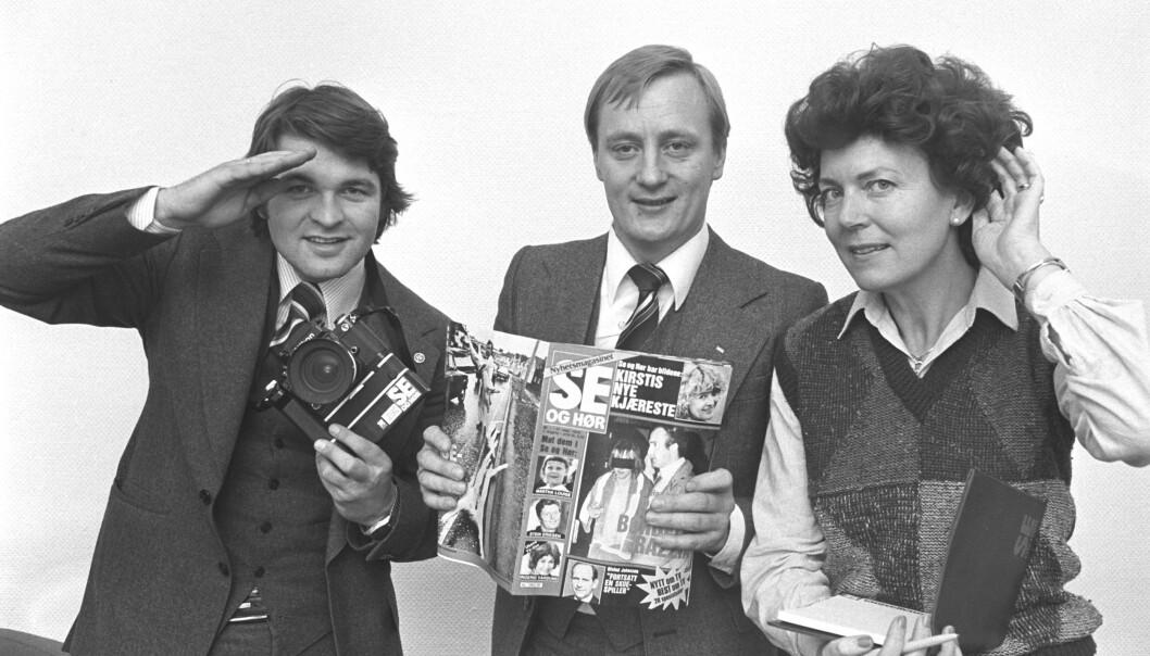 DEN GANG DA: Knut Haavik (midten) flankert av fotograf Oddvar Walle Jensen og journalist Vera Myhre da Se og Hør ble presentert for pressen i 1978. Foto: Bjørn Sigurdsøn / NTB scanpix