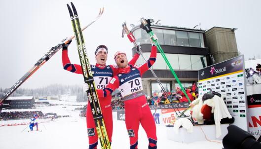 <strong>DUO:</strong> Eldar Rønning og Martin Johnsrud Sundby var på pallen sammen i VM i Kollen 2011. Veien videre til det individuelle gullet for Sundby var lang. Foto: Eirik Helland Urke / Dagbladet