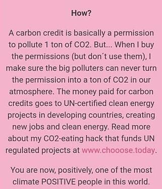 - VILLEDENDE: Variasjoner av dette budskapet, her fra en epost som tidligere gikk ut til nye Chooose-abonnenter, har fått flere til å reagere, blant dem karbonmarkedsanalytiker Hæge Fjellheim. Hun kaller budskapet villedende. Foto: Skjermdump
