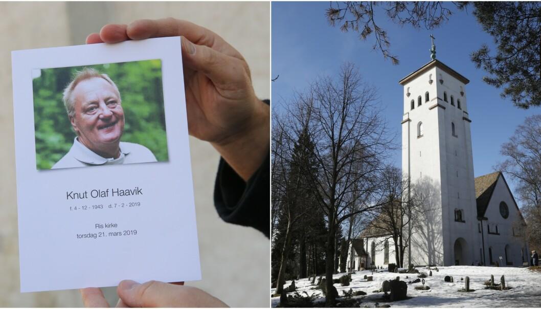 BISETTES: Knut Haavik, som døde 8. februar, bisettes i dag fra Ris kirke i Oslo. Foto: Andreas Fadum / Se og Hør / NTB scanpix