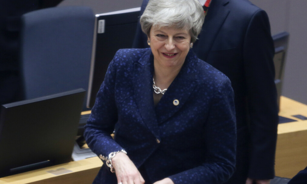<strong>BREXIT:</strong> Storbritannias statsminister Theresa May ankommer EU-møtet i Brussel torsdag. Foto: Aris Oikonomou, Pool Photo via AP / Scanpix.