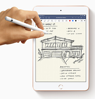 PERFEKT TIL NOTATER: Den lille størrelsen gjør at iPad mini med støtte for Apple Pencil egner seg ypperlig til notater; ikke bare tegning. Foto: Apple