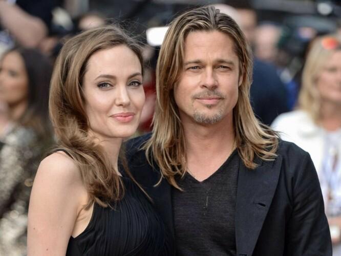 LIK SVEIS: Ble Brad Pitt beundret tydeligvis Angelina Jolies vakre, tykke hår like mye som alle andre. FOTO: Twitter