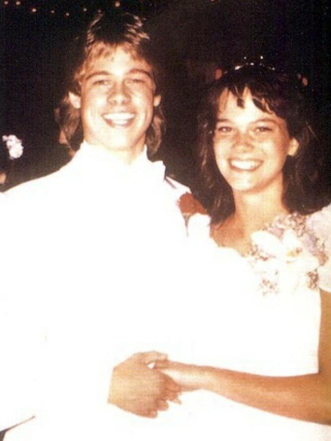 UNGE OG LOVENDE – OG LIKE: Brad Pitt med sin date til skoleballet. Identiteten til den heldige jenta er ukjent. FOTO: Twitter