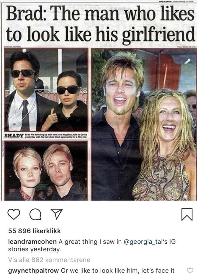 SELVIRONI: Gwyneth Paltrow kom med et godt poeng under dette bildet postet av blogger og influencer Leandra Medine Cohen alias «The Man Repeller». FOTO: Skjermdump