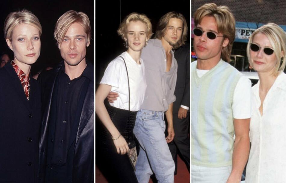 SOM TO DRÅPER VANN: Vi humrer godt av disse bildene av Brad Pitt med tidligere flammer... FOTO: NTB Scanpix