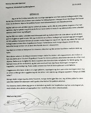 Oppsigelsesbrevet Kjærstad leverte. Foto: Privat.