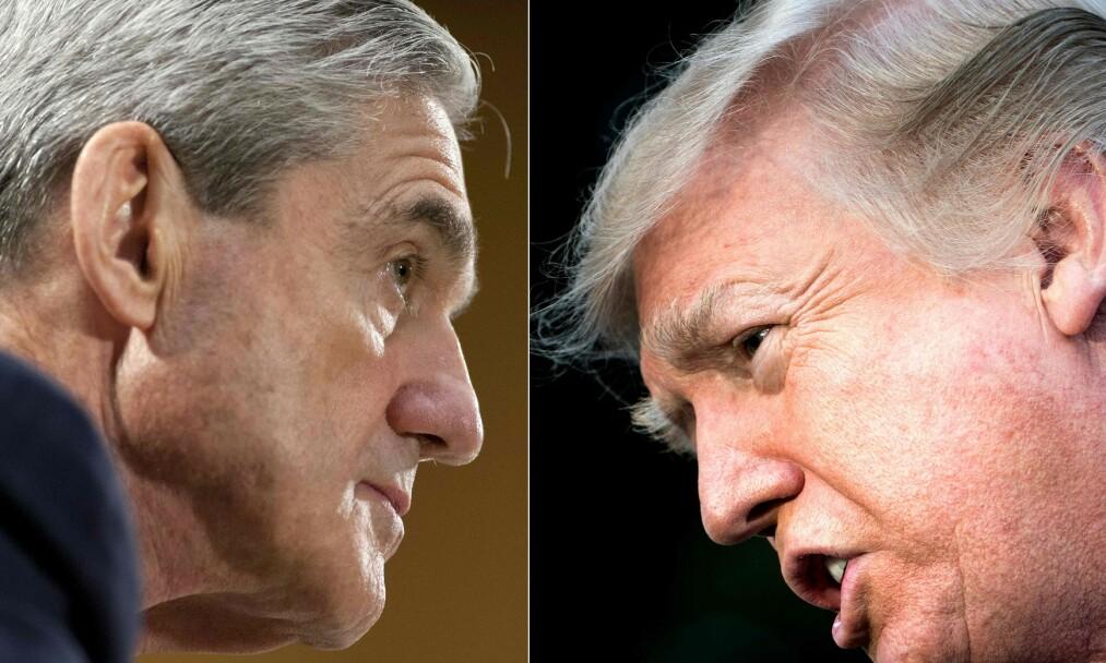 MUELLER-RAPPORT: Spesialetterforsker Robert Mueller har fullført sin etterforskning av Donald Trump og Russland. Foto: SAUL LOEB and Brendan Smialowski / AFP/NTB Scanpix.