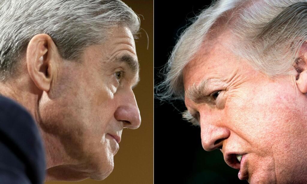 RAPPORT: USA venter på hele den 400 siders lange Russland-rapporten fra spesialetterforsker Robert Mueller. Foto: SAUL LOEB og Brendan Smialowski / AFP)