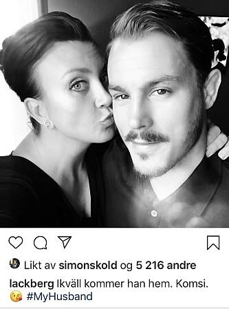 KJÆRLIGHET I INSTAGRAMENS TID: Både Camilla og mannen Simon byr raust på i sosiale medier. FOTO: Camilla Läckbergs instagram, etter avtale med Läckberg.