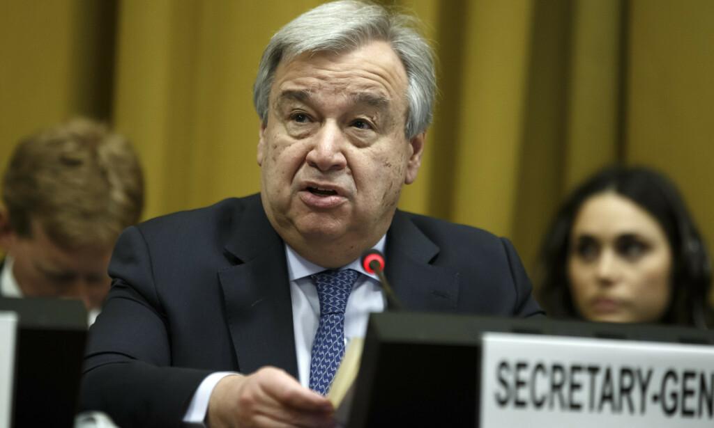 FNs generalsekretær António Guterres er sjokkert og opprørt over massakren i Mali. Foto: AP / NTB scanpix