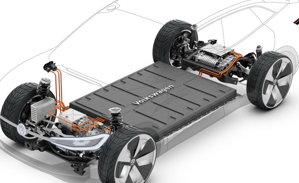 <strong>OMDISKUTERT:</strong> Fortum skal gjenvinne råvarene fra elbilbatteriet, noe som gjør elbilen renere fra vugge til grav. Foto: VW