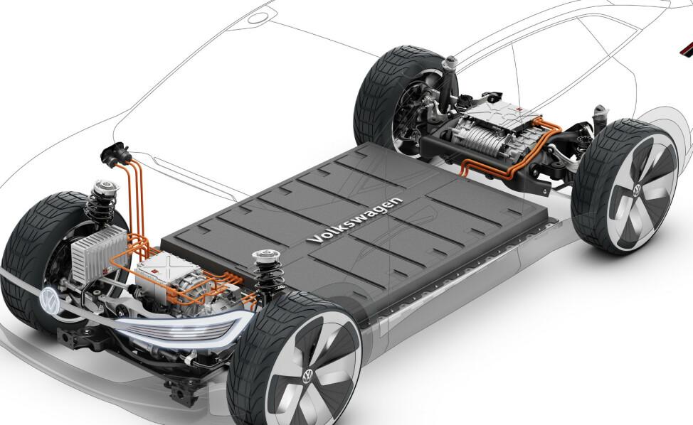 OMDISKUTERT: Fortum skal gjenvinne råvarene fra elbilbatteriet, noe som gjør elbilen renere fra vugge til grav. Foto: VW