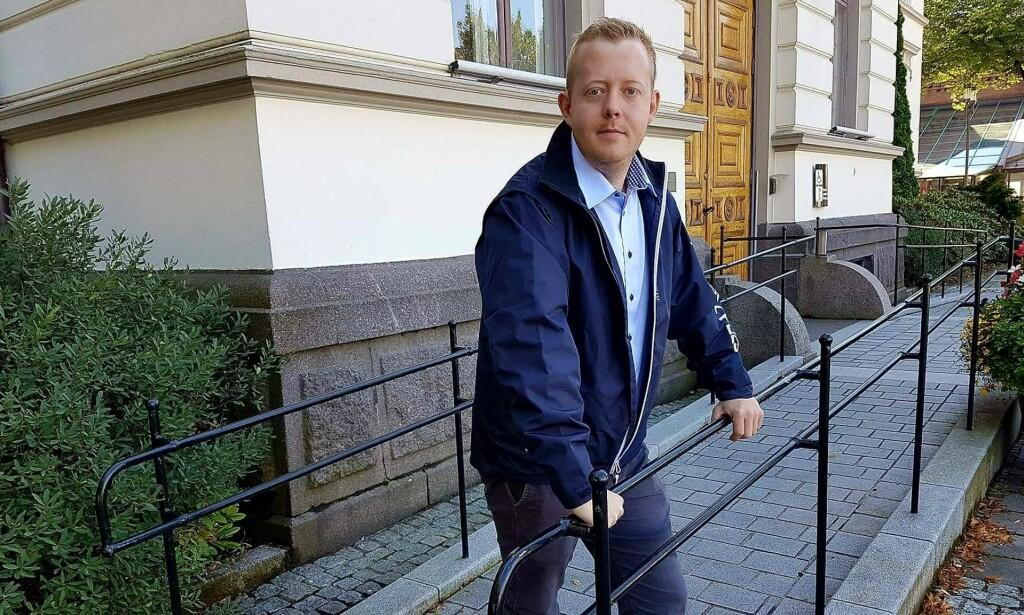 ANMELDT: Ordførerkandidat og gruppeleder i Porsgrunn FrP, Adrian Ness Løvsjø, skriver i en pressemelding mandag kveld at han er blitt anmeldt for underslag. FOTO: FrP