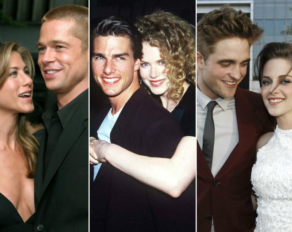 <strong>EKSPLOSIVT:</strong> Jennifer Aniston og Brad Pitt, Tom Cruise og Nicole Kidman, og Robert Pattinson og Kristen Stewart er blant stjerneparene som hadde et alt annet enn et vennskapelig brudd... FOTO: NTB Scanpix