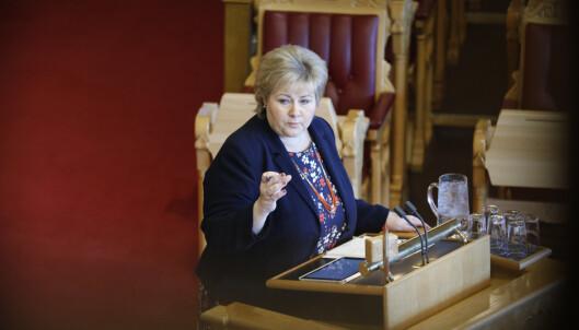 Statsminister Erna Solberg (H) måtte svare om beredskapen for å håndtere en cruiseulykke i nord i den muntlige spørretimen på Stortinget onsdag. Foto: Gorm Kallestad / NTB scanpix